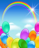 Rainbow, bubbles and sun. In the blue sky Royalty Free Stock Images