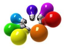 Rainbow Bulbs. A 3D image of 7 colorful light bulbs representing a rainbow stock illustration