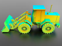 Rainbow bulldozer illustration Stock Photography