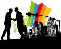 Rainbow Business Handshake. Vector Illustration Stock Photography