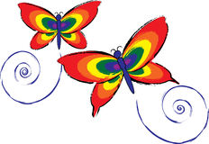 Rainbow Butterflies. Two brightly colored butterflies Royalty Free Stock Photography