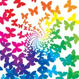 Rainbow butterflies. Background of rainbow butterflies swirl Royalty Free Stock Images