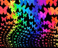 Rainbow butterflies. On black background Stock Photography