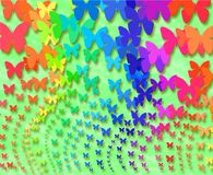 Rainbow butterflies. Color background of rainbow butterflies stock illustration