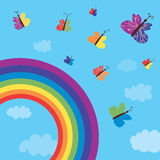 Rainbow and butterflies background funny Royalty Free Stock Images
