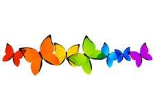 Rainbow butterflies border Stock Photography
