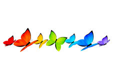 Rainbow butterflies border for Your design 4. Rainbow butterflies border on white background Royalty Free Stock Images