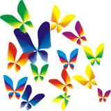 Rainbow butterflies. Fourteen bright colourful butterflies fly stock illustration