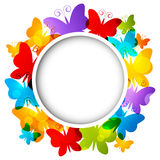 Rainbow butterflies frame Royalty Free Stock Photography