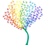 Rainbow butterflies tree Stock Photos