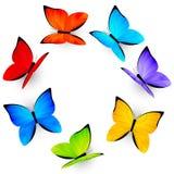 Rainbow butterflies on white Stock Photography