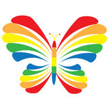 Rainbow Butterfly. A butterfly in rainbow colors is featured in an abstract background  illustration Royalty Free Stock Photos
