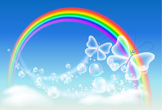 Rainbow and butterfly. Butterfly, clouds, bubbles and rainbow