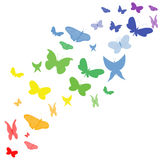 Rainbow butterfly. Rainbow wave with many butterfly Stock Photo