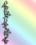 Rainbow Butterfly Border 3D. 3D butterflies border for card, stationery or scrapbook page Royalty Free Stock Image