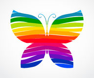 Rainbow butterfly consisted of ribbons Royalty Free Stock Photo