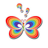 Rainbow butterfly. Butterfly, question, an exclamation in the color of the rainbow Stock Image