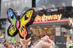 Rainbow butterfly. At the Climate March in New York City in 2014 royalty free stock image