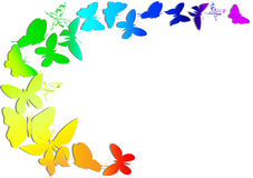 Rainbow and butterfly. On white background royalty free illustration