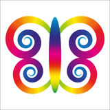 Rainbow butterfly. With wings in shape of spirals Vector Illustration