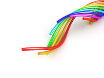 Rainbow cable over white Stock Images