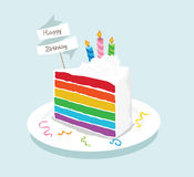 Rainbow cake with candle in happy birthday Stock Image