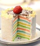 Rainbow cake close up - 16 layered cake.  stock photo