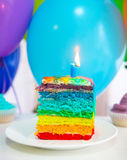 Rainbow cake decorated with birthday candle Royalty Free Stock Images