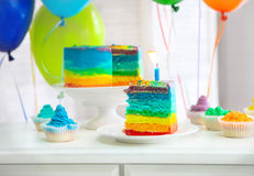 Rainbow cake decorated with birthday candle Royalty Free Stock Photos