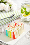 Rainbow cake with infused water and rose on the background Royalty Free Stock Image