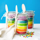 Rainbow cake in a jar Royalty Free Stock Photos