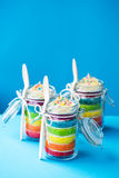 Rainbow cake in a jar Stock Images