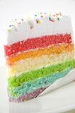 Rainbow cake. Layer of rainbow cake on white plate Royalty Free Stock Photography