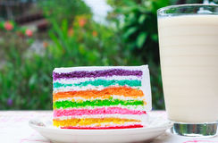 Rainbow cake and milk. Rainbow cake and a glass of milk Stock Images