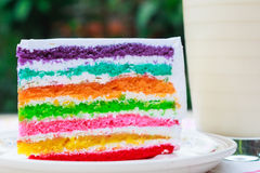 Rainbow cake and milk. Rainbow cake and a glass of milk Stock Photos