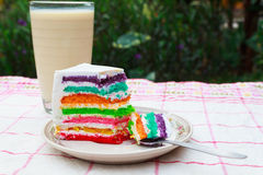 Rainbow cake and milk. Rainbow cake and a glass of milk Royalty Free Stock Images