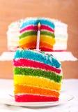 Rainbow cake slice Royalty Free Stock Images
