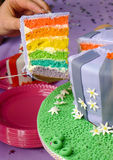 Rainbow cake. Slice of multi layered rainbow cake Stock Photos