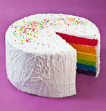 Rainbow Cake. Sliced Rainbow Cake showing the inside Royalty Free Stock Photos