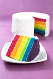 Rainbow Cake. Sliced Rainbow Cake showing the inside Royalty Free Stock Photo