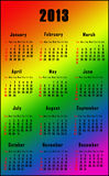 Rainbow calendar for 2013. Calendar for 2013 with rainbow colors background Royalty Free Stock Image