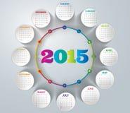 2015- Rainbow Calendar. Rainbow calendar in us style, start on sunday, each month with individual table stock illustration