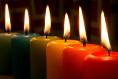 Rainbow candles Stock Photography