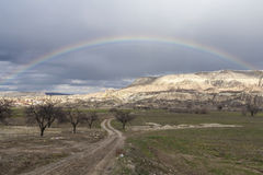 Rainbow in Capadocia. Turkey. Rainbow over mountains in Capadocia Royalty Free Stock Photo