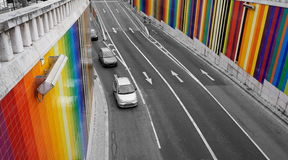 Rainbow car tunnel in Lisbon. View to the spectaculous ceramic rainbow tunnel stock photo