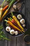 Rainbow Carrots and Spring Onions with Balsamic and Honey Marinade ready to Roast. Spring Meal Stock Photos
