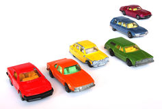 Rainbow cars. Toy cars in the colors of the rainbow Royalty Free Stock Images