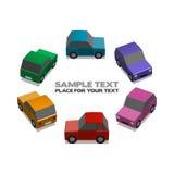 Rainbow cars. Rainbow little cars, illustration with place for your text Stock Photos
