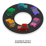 Rainbow cars. Rainbow little cars, illustration with place for your text Royalty Free Stock Images