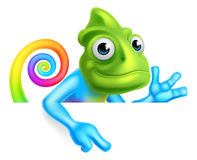 Rainbow Cartoon Chameleon Pointing Stock Photography